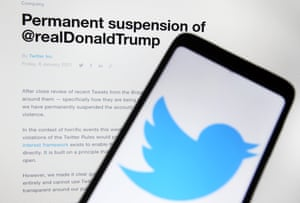 Trump was banned from Twitter on 8 January.