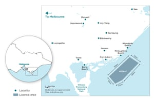 A map of the proposal to construct a 2.2GW windfarm in Bass Strait off Port Albert and Mcloughlins Beach in South Gippsland.