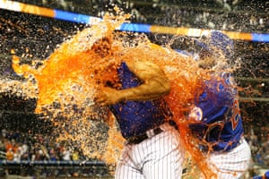 Mets players celebrate at Citi Field, New York