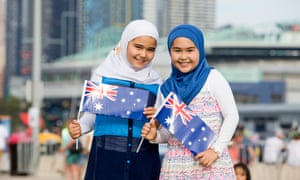 A picture of two girls wearing hijabs was taken at a 2016 Australia Day event in Docklands. The photograph was used in a 2017 Australia Day billboard which included rolling images of people from different backgrounds.