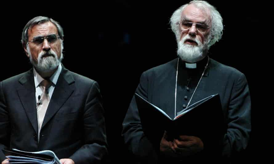 Jonathan Sacks and Rowan Williams at the National Holocaust Memorial Day ceremony in the Liverpool Philharmonic Hall, 2008.