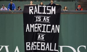The banner is displayed at Fenway Park during the MLB game between the Boston Red Sox and Oakland A's.