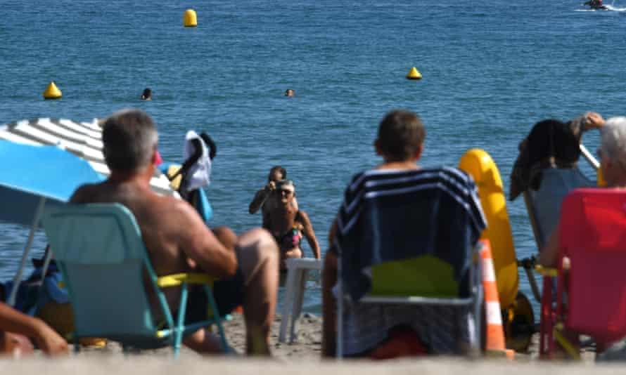 Tourists in Saint-Laurent-du-Var, near Nice, southern France.