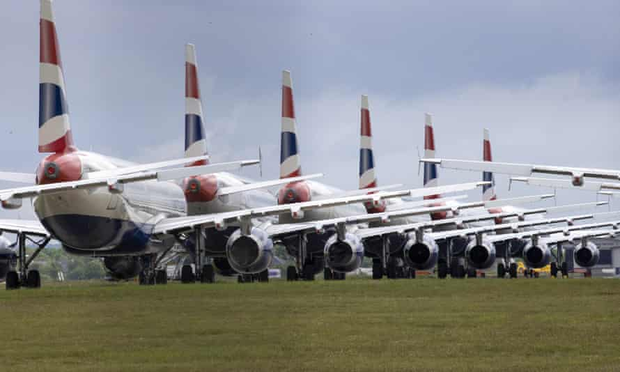 Grounded passenger planes at Glasgow airport