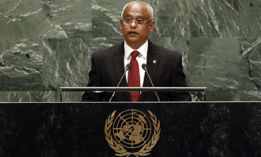 President Ibrahim Mohamed Solih addresses the United Nations general assembly in September.