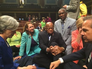 In 2016, Lewis takes part in a sit-in on the floor of the House of Representatives, demanding that the Republican-led body vote on gun-control legislation in the wake of a shooting in Orlando.
