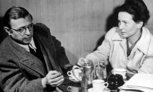 The French existentialist philosophers Jean-Paul Sartre and Simone de Beauvoir taking tea together