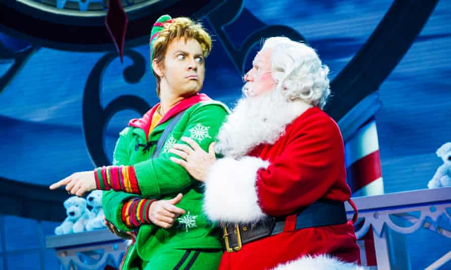 Ben Forster as Buddy and Mark McKerracher as Santa in Elf the Musical at the Dominion, London.