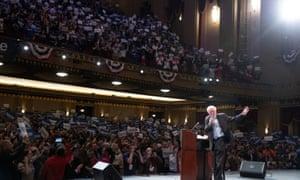 Sanders speaks during a rally in St Louis, Missouri, last week.