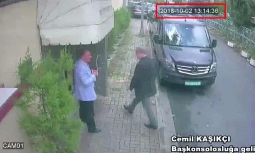 CCTV footage of Khashoggi entering Saudi Arabia's consulate in Istanbul.