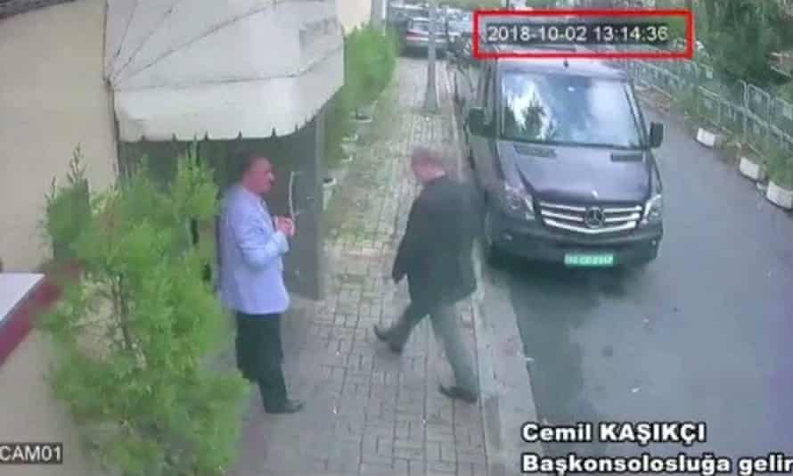 A still image from CCTV claims to show Jamal Khashoggi arriving at Saudi Arabia's consulate in Istanbul.