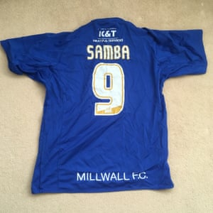 """The pride of my five-a-side."" Alex's Samba shirt."