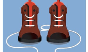 An illustration of a pair of brown boots with white laces
