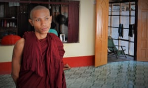 Young monk Ma Ni Ta pictured inside the monastery in Thaungtan village, Myanmar.