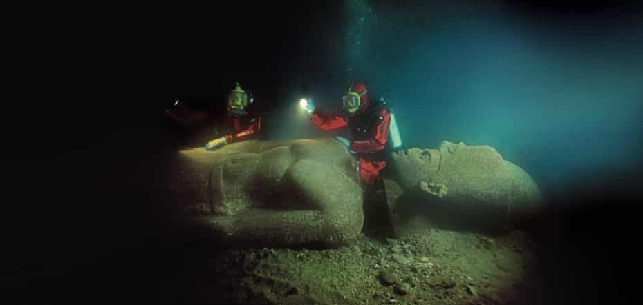 Colossal ... this pharaoh was found in five separate pieces before it was reassembled underwater.
