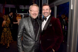 Jared Harris and Jon Hamm at the Vanity Fair party.