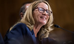 Christine Blasey Ford testifies during the Senate judiciary committee hearing on 27 September.