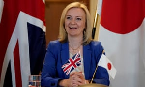 Liz Truss speaking to Japan's minister for foreign affairs, Toshimitsu Motegi, in London, 9 June 2020.