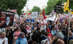 A 'free Tommy Robinson' protest in London last Saturday.