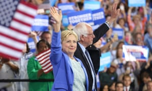 clinton and sanders at a rally