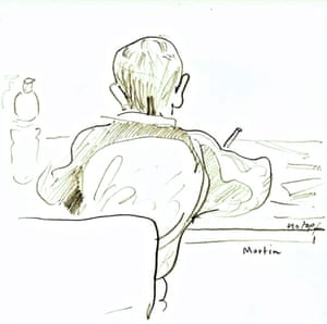 Child caricaturing Martin Rowson at Education Centre Guardian cartoon and art family day, 10 October 2015.