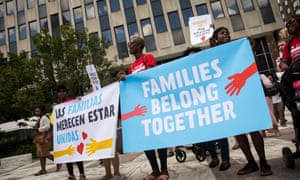 Protesters against Trump's child separation policy. Some camp occupants have told the Guardian that an organized counter-protest movement is growing.