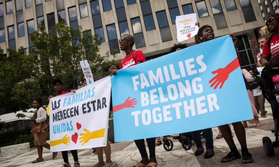 Activists protest against the Trump administration's family detention and separation policies for migrants along the southern border.