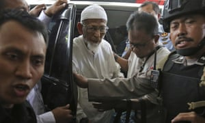 Ailing radical cleric Abu Bakar Bashir arrives for medical treatment at Cipto Mangunkusumo Hospital in Jakarta on 1 March