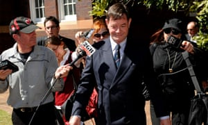 Former Knox Grammar School teacher Damien Vance (centre) leaves court following sentencing in 2009. He was given a two-year good behaviour bond for sexual assault by inciting a 14-year-old boy to an indecent act in 1988.