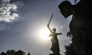 The Motherland Calls statue in the Stalingrad second world war memorial in Volgograd
