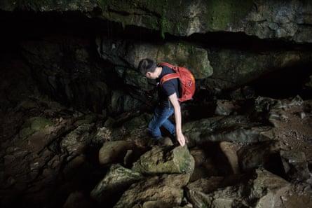 Artist Stefhan Caddick enters a Black Mountains cave system