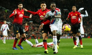 Aaron Wan-Bissaka playing for Crystal Palace last season at Manchester United, who have agreed a deal to buy the full-back.