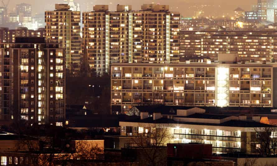 A general view of a council housing estate at night in central London