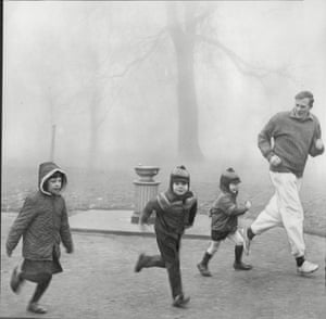 Bannister takes his children for a run in the park.