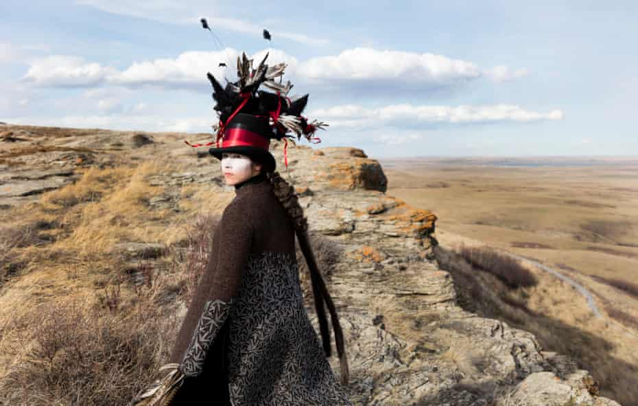 Leap of death … McMaster at Head-Smashed-In Buffalo Jump, in the work titled Edge of a Moment, 2017.