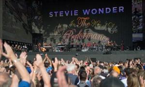 Stevie Wonder on stage in Hyde Park.