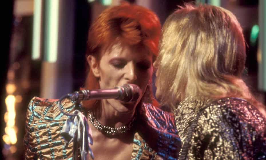David Bowie on Top Of The Pops with Mick Ronson, 1973.