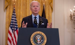 US President Joe Biden speaks about the April jobs report in the East Room of the White House in Washington, DC.