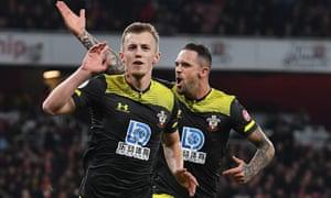 James Ward-Prowse celebrates putting Southampton ahead.