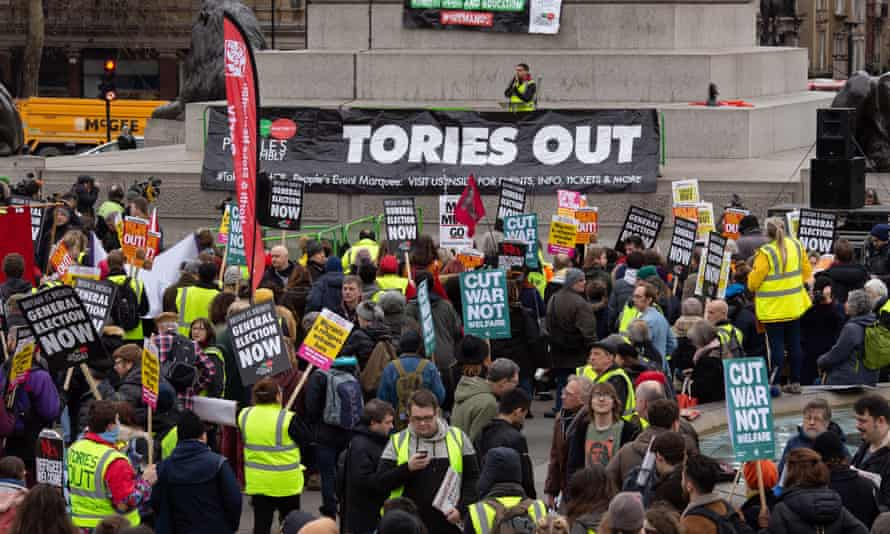 People's Assembly anti-austerity demonstration in London, 12 January 2019.