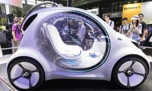Daimler's AG Smart Vision EQ electric self-driving car.