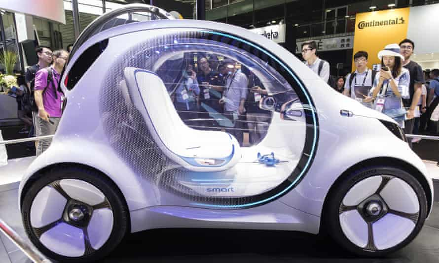 Daimler's AG Smart Vision EQ electric self-driving car.