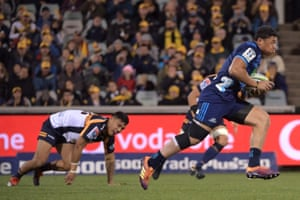 Caleb Clarke of the Blues steals the ball to score a try during the round 12 Canberra Brumbies and Auckland Blues Rugby Union match at GIO Stadium.