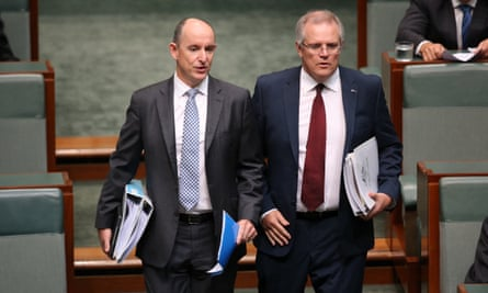 Stuart Robert and Scott Morrison arrive for question time on Wednesday.