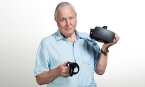 Sir David Attenborough with a Sky VR headset and controller.