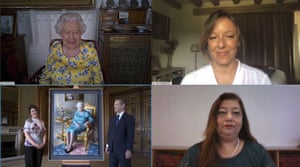 Britain's Queen Elizabeth II, top left, in Windsor, England, during a video link call for a 'virtual' visit to the Foreign and Commonwealth Office, FCO, in London, to speak to members of staff and watch the official unveiling of a new portrait of herself by artist Miriam Escofet, seen bottom left.
