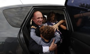 Former Venezuelan military spy chief, retired Maj. Gen. Hugo Carvajal, enters into a car after walking out of prison in Estremera, outskirts of Madrid, Spain
