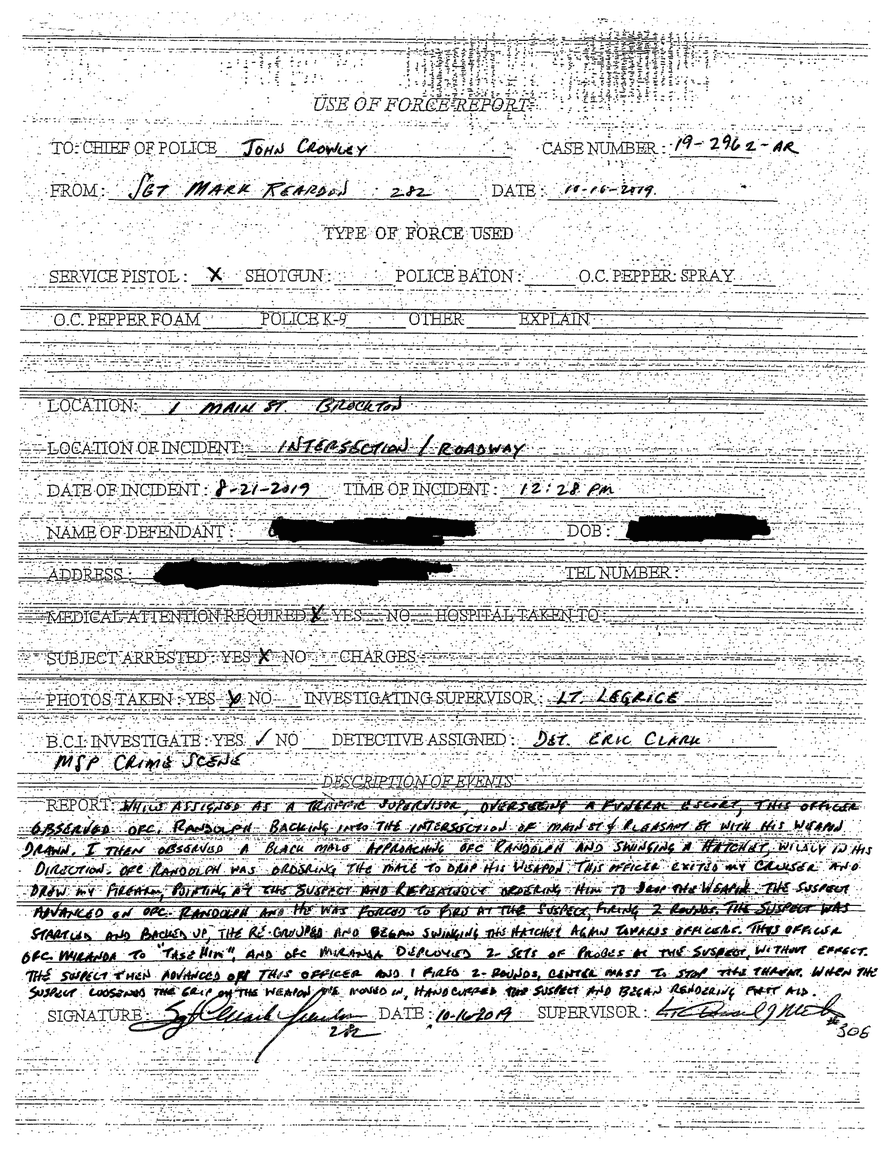 When asked for use of force data, Brockton, Massachusetts, police sent this document of a single incident.