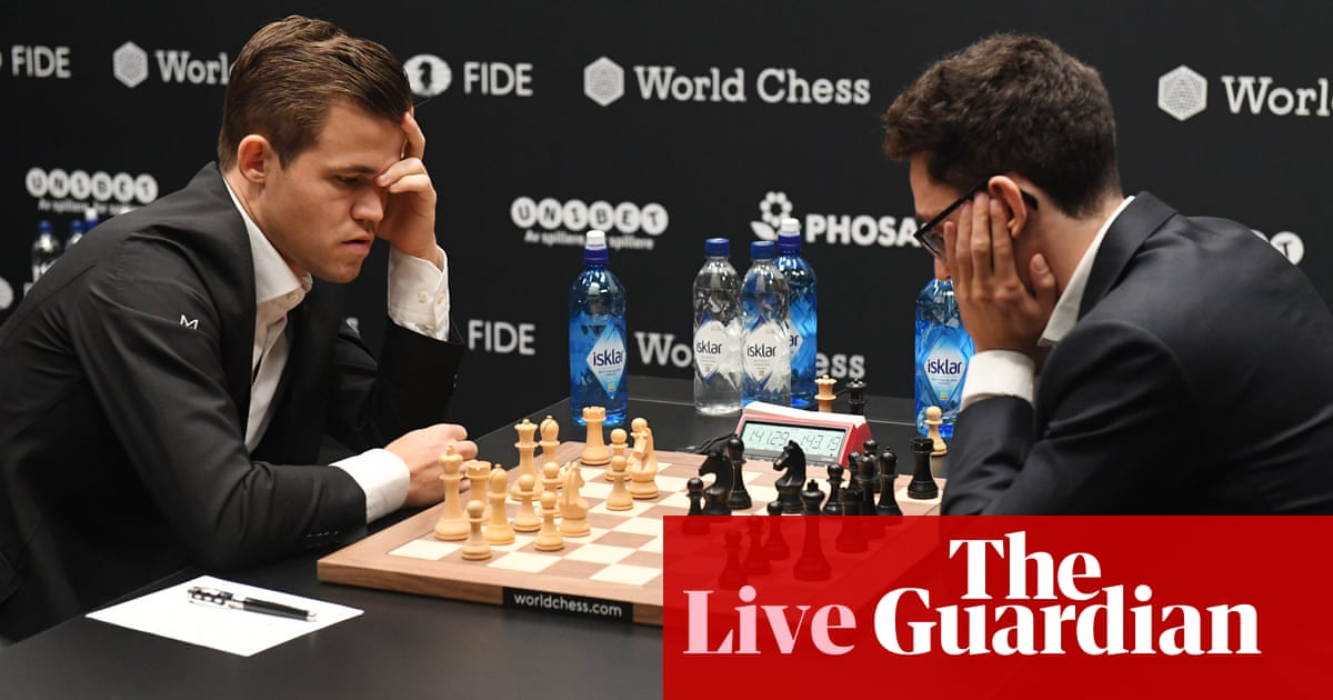 Magnus Carlsen and Fabiano Caruana play to bloodless draw in Game 4 – as it happened