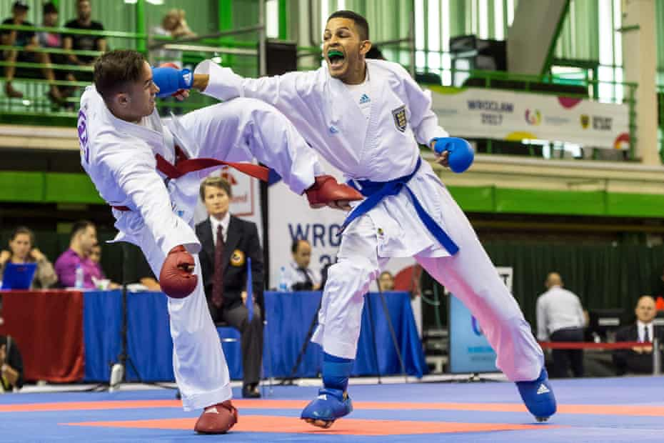 Jordan Thomas (right) competes in the men's 67kg gold medal bout at the World Games in Poland during July 2017.